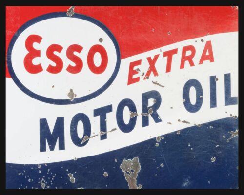 """10/"""" x 8/"""" ESSO MOTOR OIL CAR BIKE GARAGE WORKSHOP MAN CAVE METAL PLAQUE SIGN 590"""
