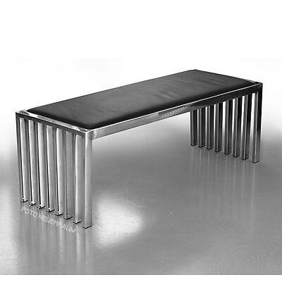 Bauhaus Edelstahl Sitzbank Bank mit schwarzem Rindleder 2 Längen 122 oder 42 cm.