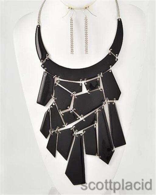 Chunky Bib Black Charm Silver Chain Earring Necklace Set Fashion Costume Jewelry