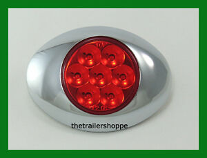 Low Profile Pearl LED Marker Clearance Light w/ Chrome Bezel 7  LEDs -Red