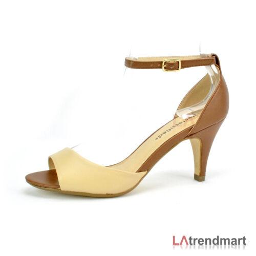 Women 2 Tone Kitten Heel Open Toe Ankle Strap Sandal Classified Tupper Nude Tan