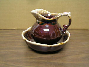 BROWN-CREAM-VINTAGE-MCCOY-PITCHER-amp-BOWL-SET-7528
