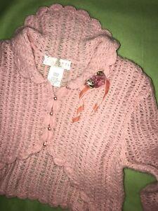 Pure-Elegance-16-BISCOTTI-CALLEZIONI-NEW-Pink-Lace-CARDIGAN-SHRUG-Pearl-Buttons