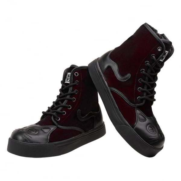 T.U.K. Classic Two Kitty Cat Face Tail Two Classic Tone Burgundy Velvet Combat Sneaker Stiefel 79b39d