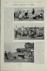 1897-PRINT-INDIA-CAMP-NATIVE-COOKS-BOILING-GRAIN-FILLING-UP-WATER-BOTTLE-RATIONS