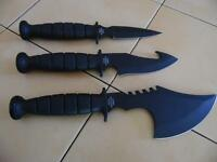 Survival Knives (set Of 3) With Free Sheath That Slips Through Your Belt