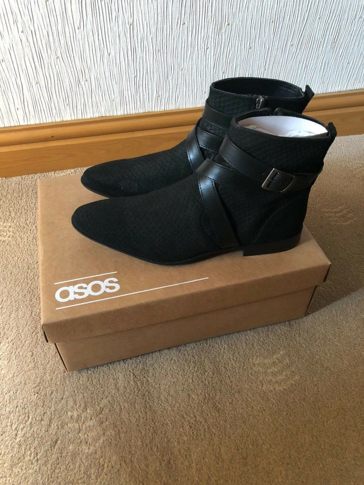 ASOS Chelsea Boots Snake With Strap In Black Snake Boots FREE UK DELIVERY 14c80c