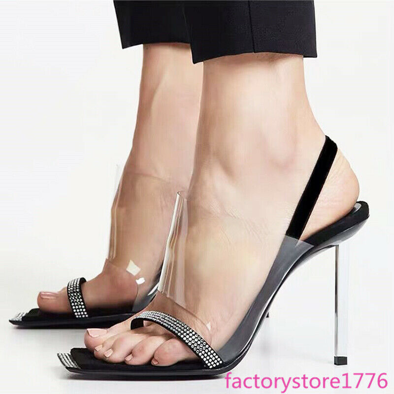 Women Transparency Hollow Out Clip Toe Slingback Sandal Stiletto High Heel shoes