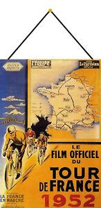 Tour-De-France-1952-Panneau-Metallique-Plaque-avec-Cordon-en-Etain-20-X-30-CM