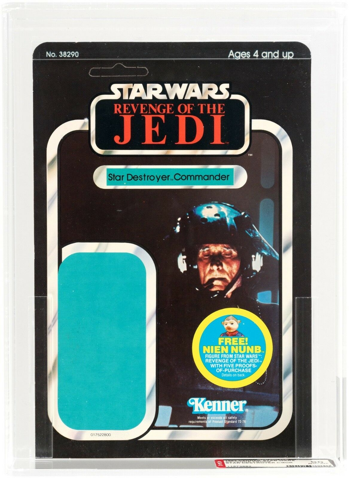 AFA 90 NM+ MT STAR WARS REVENGE OF THE JEDI STAR DESTROYER COMMANDER PROOF CARD