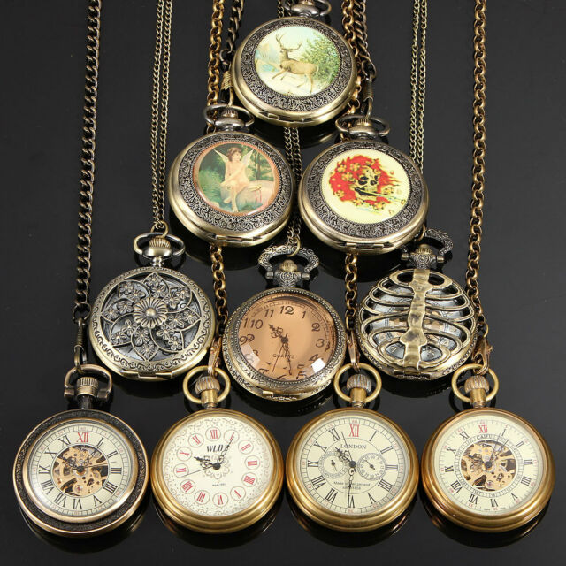 10 Style Vintage Bronze Steampunk Quartz Mechanical Skeleton Pocket Watch Chain