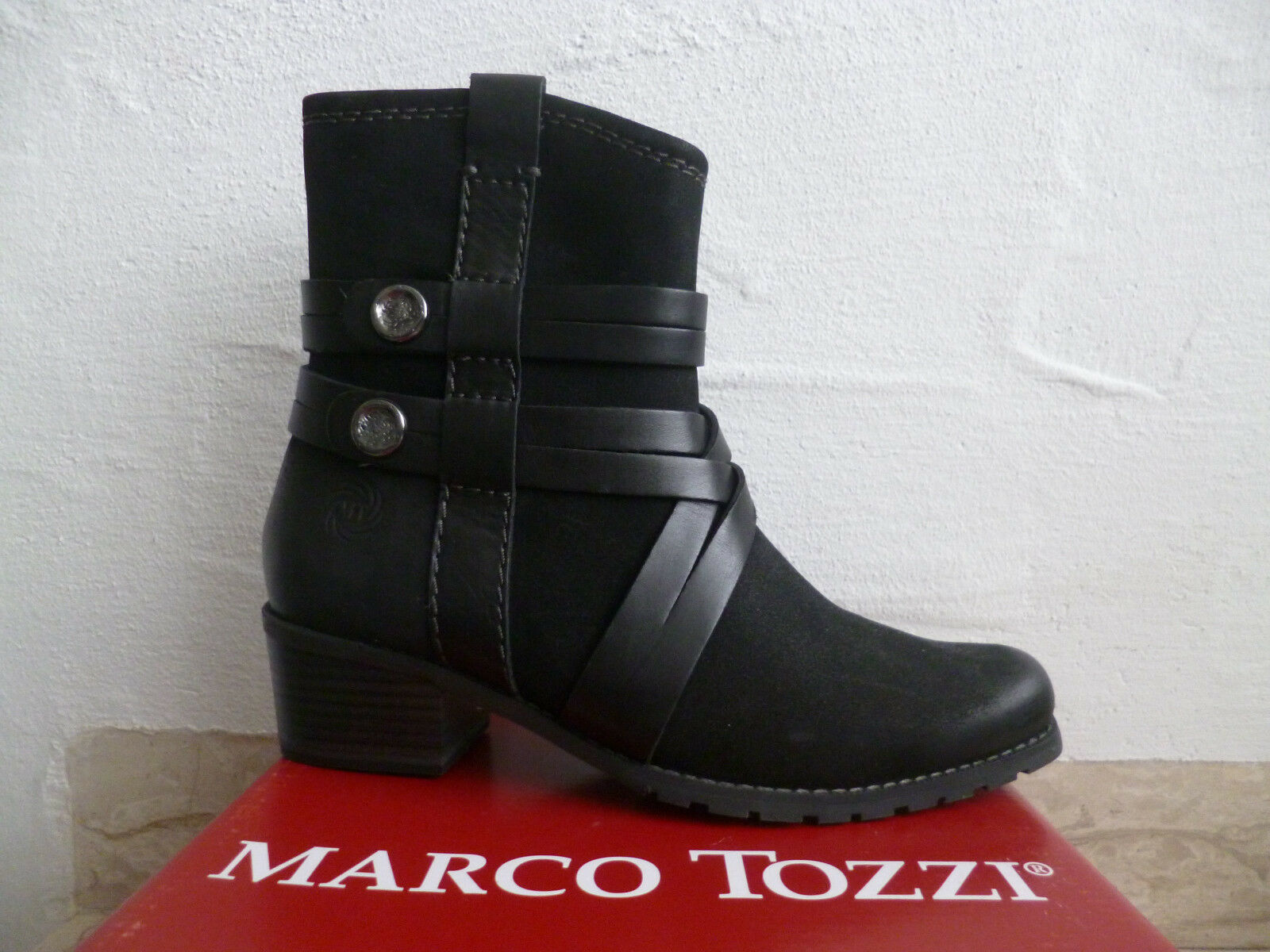 Marco Marco Marco Tozzi Ladies Booties Ankle Boot Black Real Leather New 47b9a8