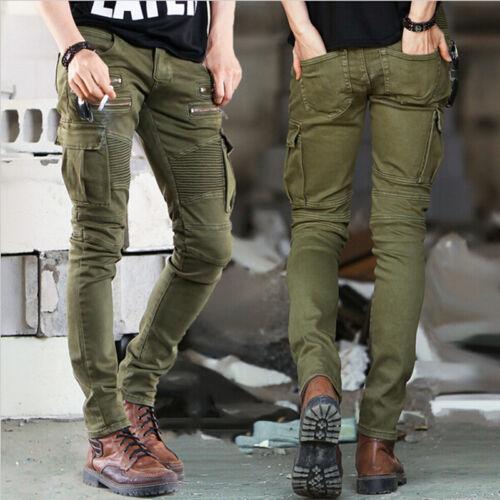 Slim Fit Mens Skinny Runway Straight Elastic Pants Destroyed Ripped Zipper Jeans