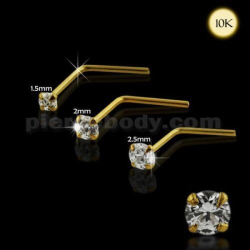 22 g 10K Solide Or jaune en forme de L Jeweled Round Cut Stone Prong Set Nose Stud