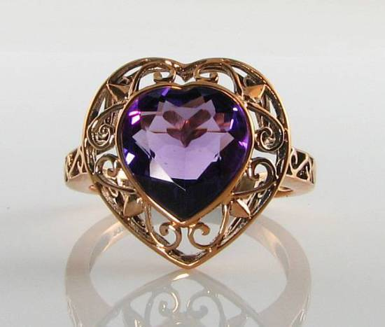 LARGE 9K 9CT pink gold AFRICA AMETHYST HEART ART DECO INS RING FREE RESIZE