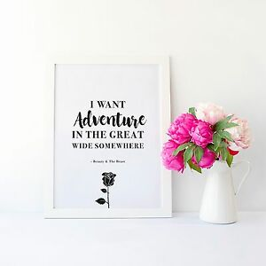 Disney Beauty And The Beast Wall Art Quote Print Typography Home