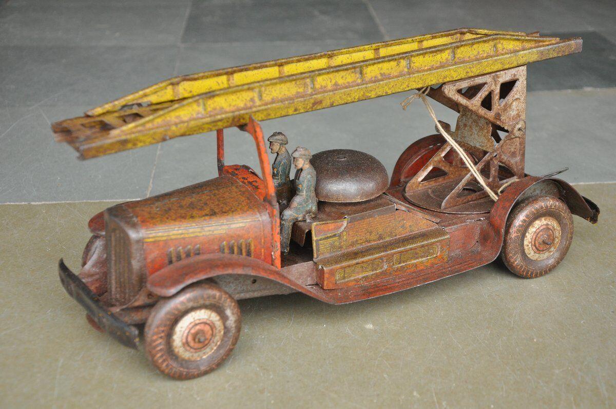 Rara Vintage Wind Up Litografía gran grúa camión de bomberos de juguete de estaño