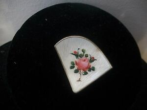 VINTAGE-SIGNED-NORWAY-STERLING-SILVER-FLORAL-ENAMEL-PIN-BROOCH