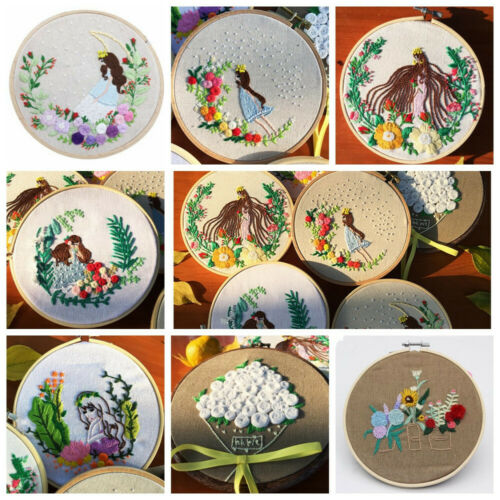 Beginners DIY Princess Embroidery Kit With Hoop Sewing Thread Instructions