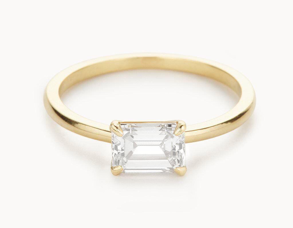 c942233a6 1.00 Ct VVS1 D Diamond Wedding Ring 14K Solid Yellow gold Emerald Cut Size  4 5