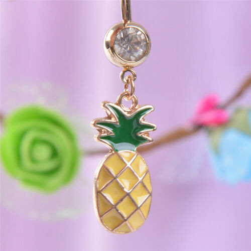 Crystal Rhinestone Pineapple Navel Belly Button Ring Bar Body Piercing JewelryOS