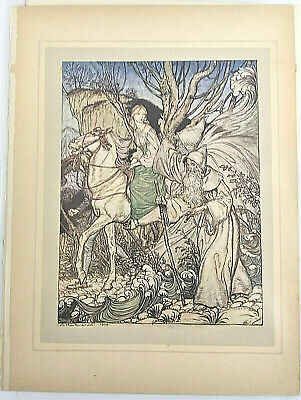 "Arthur Rackham /""Undine Plunges into the Danube/"" Painting Real Canvas Art Print"