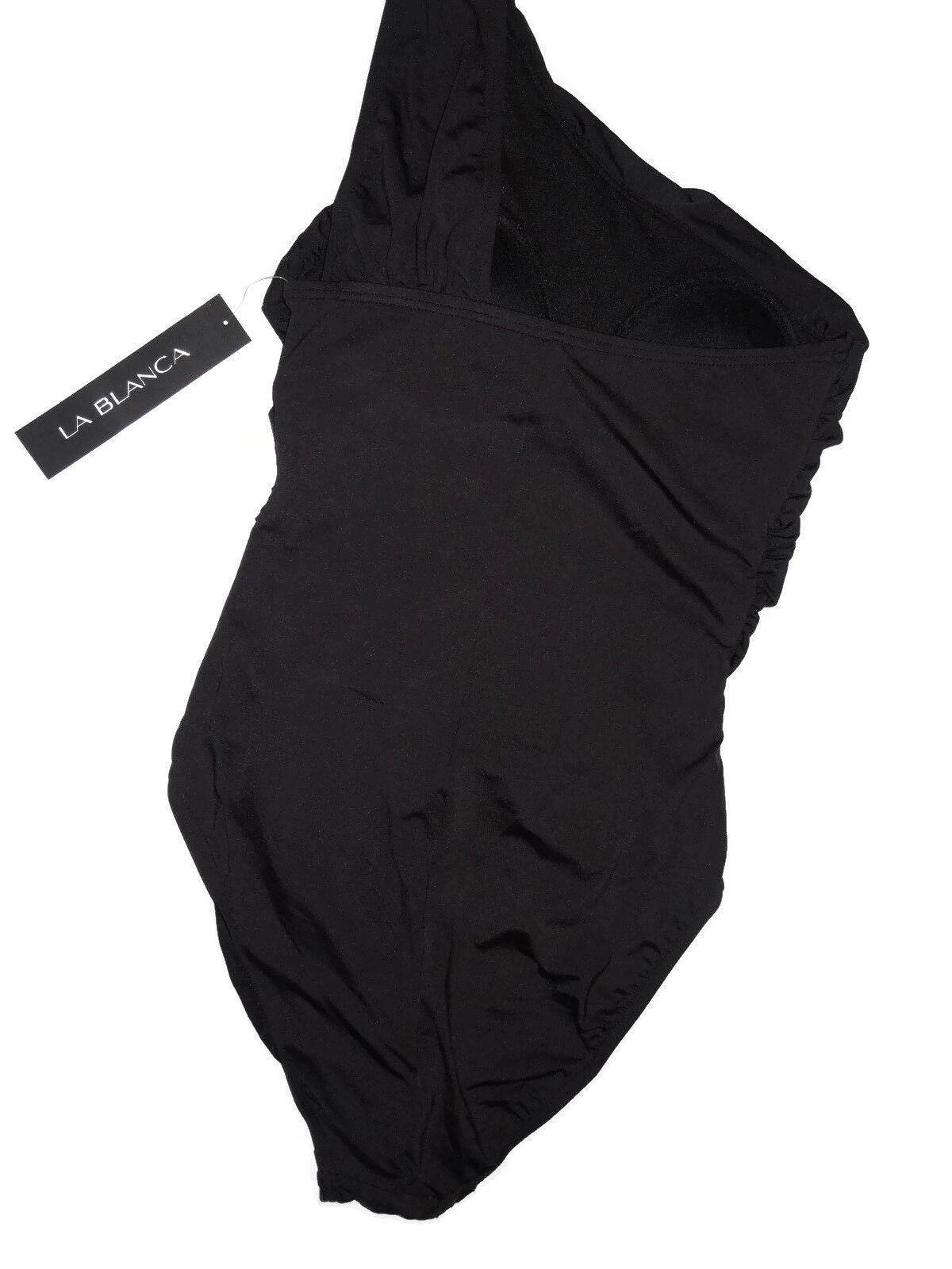 ba12d74297 La Blanca Women S 6 Black Ruched One Shoulder Swimsuit 109 LB 4 KV 14 for sale  online | eBay