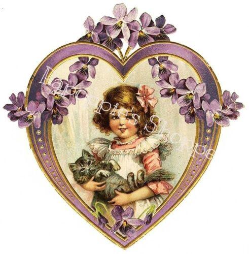 Valentine/'s Day Fabric Block Vintage Postcard on Fabric Victorian Girl Kitten