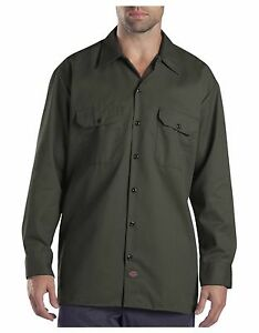 Dickies Mens Olive Green Long Sleeve Work Shirt Uniform Button Up