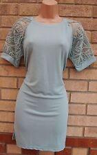 MEILING PARTY MINT GREEN CROCHET LACE MESH SLEEVE LONG TOP TUNIC VEST DRESS XL
