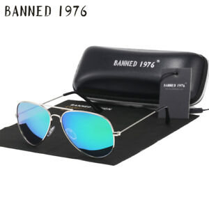 BANNED 1976 Classic HD Polarisierte Metallrahmen Unisex Sonnenbrille Klassisches Design