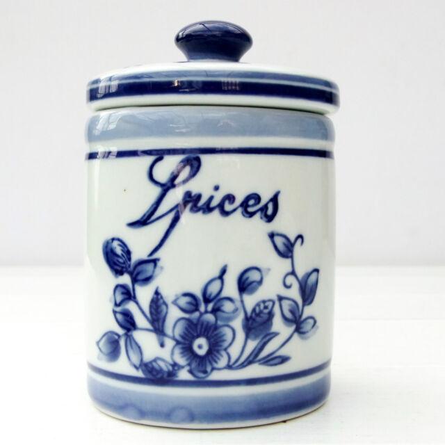 Vintage SIA Blue White Spice Jar Pot