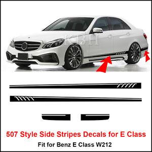 507-Style-Side-Stripes-Decals-Vinyl-Sticker-for-Benz-W212-E-Class-AMG-Matt-Black