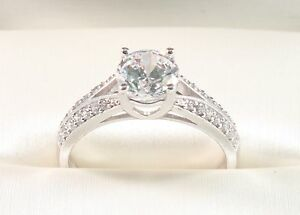 14K Solid White Gold Round Brilliant Cut Man made Stone 1.50TCW Engagement Ring