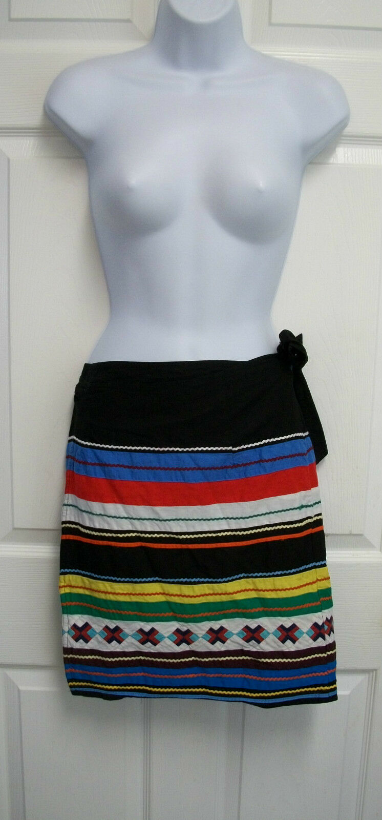 VINTAGE RALPH LAUREN COUNTRY QUILTED RIC RAC SOUTHWESTERN THIN COTTON WRAP SKIRT