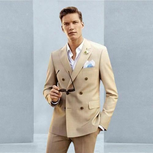 Beige Men Suits Double Breasted Casual Tuxedo Blazers Formal 2 Pieces Groom Suit