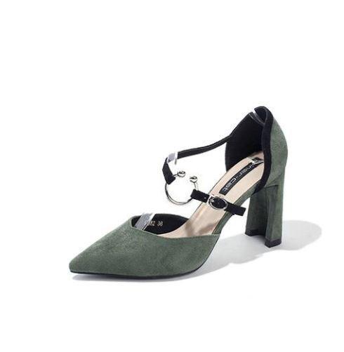 8c448a91a18d7 éscarpins chaussures pour femmes femmes femmes vert talon carré 9 cm ...