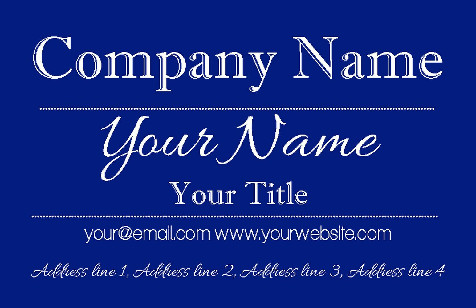 Deep Blau Blau Blau Classique Personalised Business Cards 743083