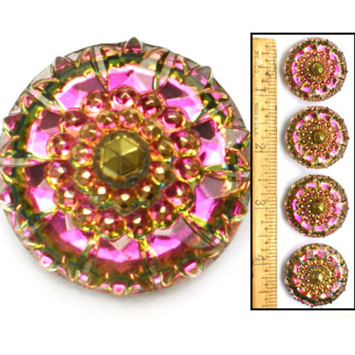 32mm Vintage Czech Glass Mirror Back Faceted PINK RAINBOW AB Nailhead Buttons 2p