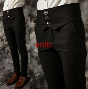 New Mens Dress Pants Skinny Slim High Waisted Casual Long Costume