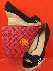 331cb6c471f Details about NIB TORY BURCH DORY 85 BLACK CANVAS BOW GOLD REVA PLATFORM  ESPADRILLE WEDGES 11