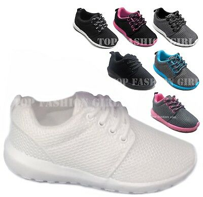 New Girls White /& Pink Light Weight Casual Tennis Shoes Sizes 9-4 US