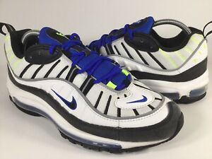 0eb4549f8f Nike Air Max 98 White Black Racer Blue Volt Mens Size 9.5 Rare ...