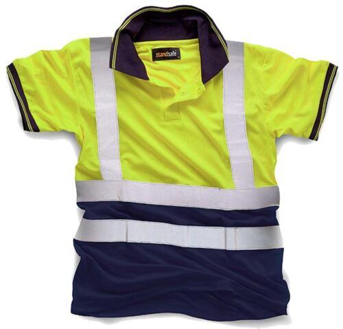 New Mens High Visibility Short Sleeve Polo Hi Vis Work Wear T-Shirt