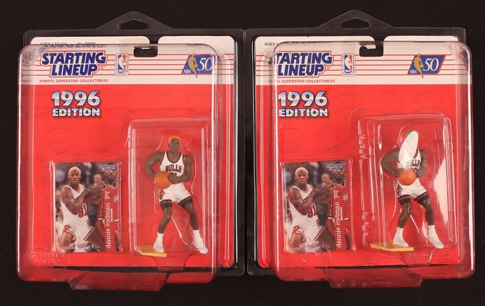 LOT of 2 1996 Dennis Rodman Starting Lineup Hair color Variations orange   Green