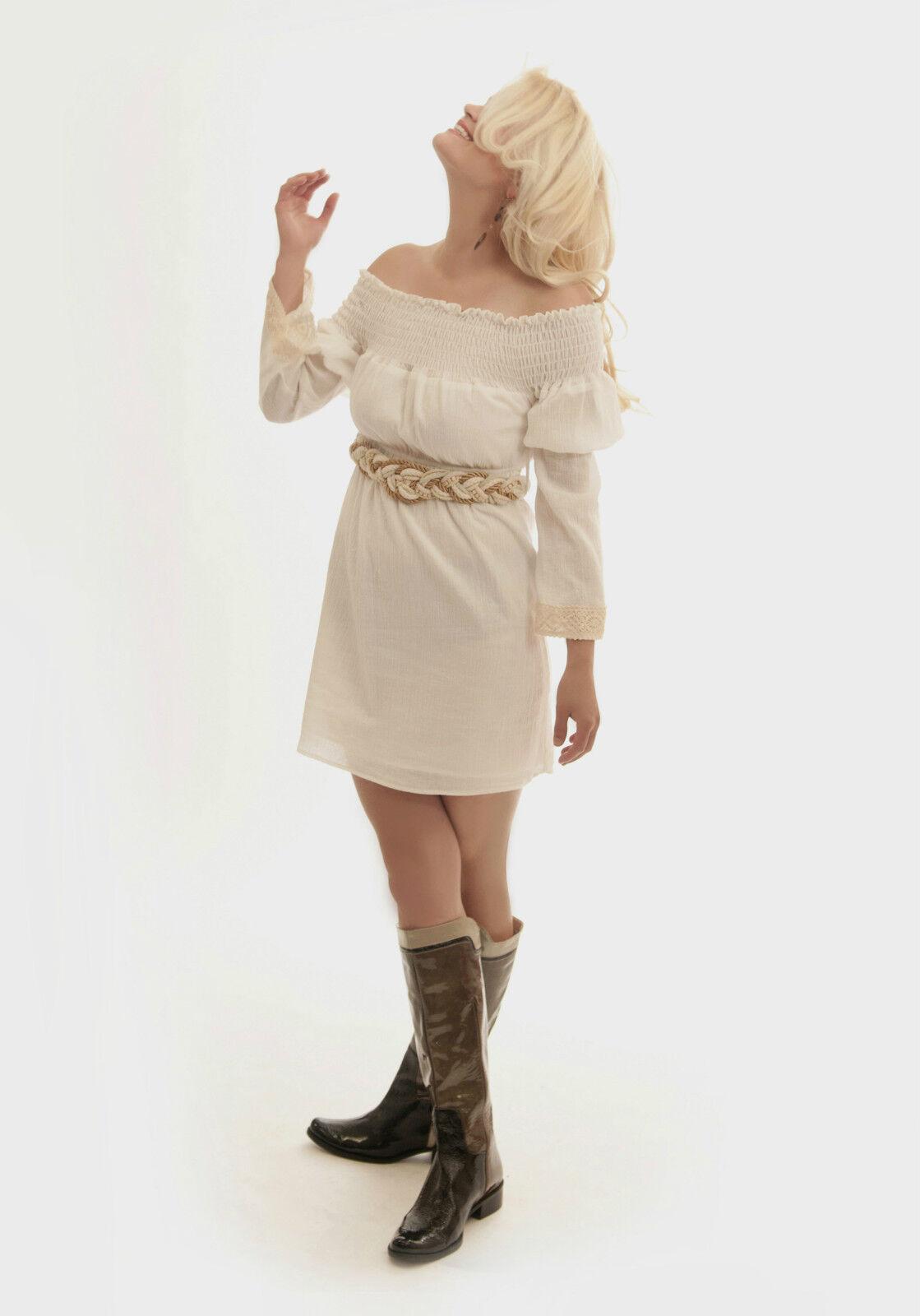 Cotton lace Sexy High Waist Belt Ivory Women Off Shoulder dress Vava Joy Han