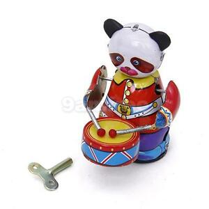 Wind-Up-metal-Panda-Drummer-tin-Toy-clockwork-mechanical-kid-Collectible-Gift