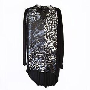 Johnny-Was-Biya-Black-Blue-Leopard-Print-Silk-Tunic-Blouse-Button-Up-Women-Sz-XS