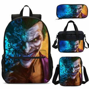 Joker Kids School Backpack 4PCS Shoulder Bag Lunch Bag Pen Bag Teens Gifts