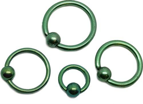 Green Ball Closure Ring Captive Bead Hoop BCR Nose Ear Helix Tragus Lip Septum